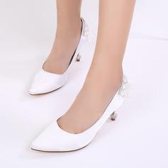 Women's Silk Like Satin Stiletto Heel Closed Toe Pumps With Imitation Pearl Rhinestone Chain