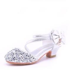Girl's Round Toe Closed Toe Microfiber Leather Low Heel Sandals Flower Girl Shoes With Bowknot