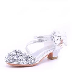 Fille de bout rond Bout fermé Cuir en microfibre Low Heel Sandales Chaussures de fille de fleur avec Bowknot