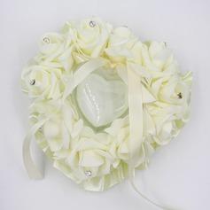 Elegante Rose Ring Kissen in PE mit Strasssteine/Blumen