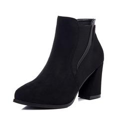 Frauen Veloursleder Stämmiger Absatz Absatzschuhe Stiefel Stiefelette mit Gummiband Schuhe