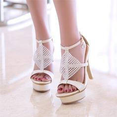 De mujer Cuero Tacón stilettos Sandalias Salón Plataforma Encaje con Rhinestone Perlas de imitación zapatos