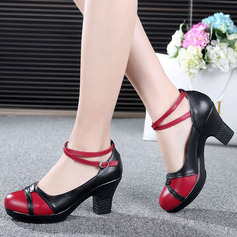 Women's Real Leather Pumps Swing With Ankle Strap Dance Shoes
