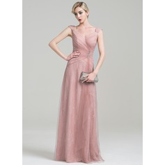 A-Line/Princess V-neck Floor-Length Tulle Lace Mother of the Bride Dress With Ruffle Beading Sequins