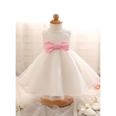 A-Line/Princess Knee-length Flower Girl Dress - Cotton Blends Sleeveless Scoop Neck With Bow(s) (010087798)