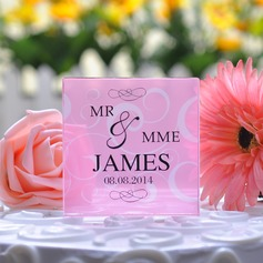 Personalized Floral Design Crystal Cake Topper