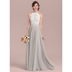 A-Line/Princess Scoop Neck Floor-Length Chiffon Lace Bridesmaid Dress (007126467)
