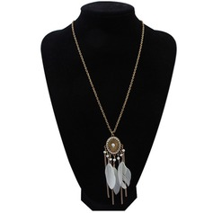 Exotisch Legering Feather met Feather Dames Fashion Ketting (Verkocht in één stuk)