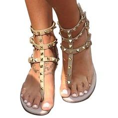 Vrouwen Kunstleer Flat Heel Sandalen Peep Toe met Klinknagel schoenen