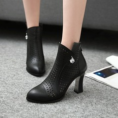 Women's Leatherette Chunky Heel Boots Ankle Boots With Rhinestone Zipper Hollow-out shoes (088125607)