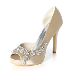 Women's Silk Like Satin Stiletto Heel Peep Toe Platform Pumps With Rhinestone (047195481)