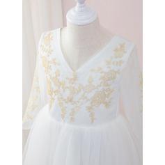 Çan Uzun Etekli Çiçek Kız Elbise - Tül/Dantel Uzun kollu V yaka