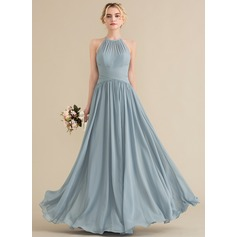 A-Line/Princess Scoop Neck Floor-Length Chiffon Bridesmaid Dress With Ruffle (007144751)