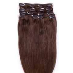 5A Virgin / remy Rakt människohår Klämma i hårförlängningar 7pcs 90 g