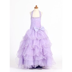 Ball Gown Floor-length Flower Girl Dress - Organza/Charmeuse Sleeveless Scoop Neck With Ruffles/Beading/Sequins/Bow(s)