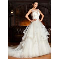 Платье для Балла Круглый Церковный шлейф Тюль Свадебные Платье с Ниспадающие оборки