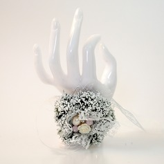 Classic Hand-tied Emulational Succulent Plant/Imitation Pearl Wrist Corsage -