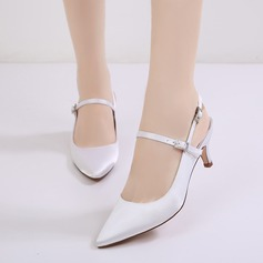 Women's Silk Like Satin Stiletto Heel Closed Toe Pumps Sandals Slingbacks With Buckle