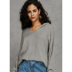 Solid Acrylic Hooded Pullovers Sweaters