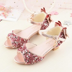 Girl's Peep Toe Sparkling Glitter Low Heel Sandals Flower Girl Shoes With Ruffles