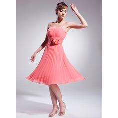 Çan/Prenses Diz Hizası Chiffon Kokteyl Elbisesi Ile Çiçek(ler)