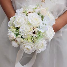 Elegant Rund Siden blomma Brud Buketter - Brud Buketter