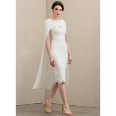 Sheath/Column Sweetheart Knee-Length Lace Stretch Crepe Mother of the Bride Dress With Beading (008195393)