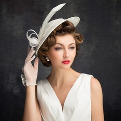Dames Style Classique Feather/Tulle/Lin avec Feather Chapeaux de type fascinator/Chapeaux Tea Party