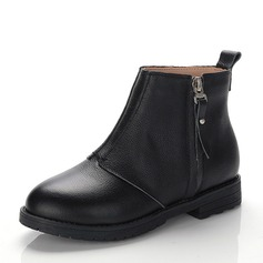 Girl's Real Leather Flat Heel Closed Toe Ankle Boots Boots With Zipper
