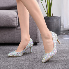 Kids' Leatherette Stiletto Heel Pumps With Rhinestone Sequin Crystal