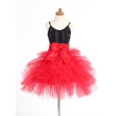 Forme Princesse Court/Mini Robes à Fleurs pour Filles - Satiné/Tulle Sans manches Bretelles avec Dentelle/À ruban(s)