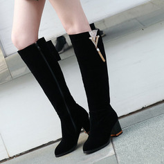 Women's Leatherette Chunky Heel Knee High Boots With Rhinestone Zipper Chain shoes
