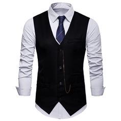 Effen kleur Polyester Viscose Heren vest