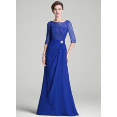 A-Line/Princess Scoop Neck Floor-Length Chiffon Lace Mother of the Bride Dress With Ruffle Crystal Brooch (008072710)