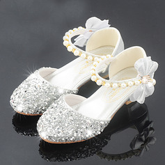 Pigens Round Toe funklende glitter Flower Girl Shoes med Bowknot Crystal Pearl