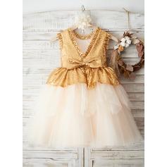Forme Princesse Longueur genou Robes à Fleurs pour Filles - Tulle/Pailleté Sans manches Col rond avec À ruban(s)/V retour