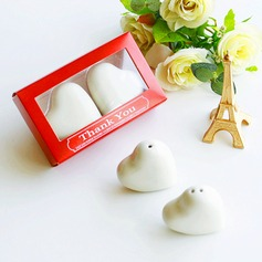 "Heart Shaped/""Love"" Heart Shaped/Heart Design Ceramic Salt & Pepper Shakers (Set of 2)"