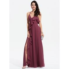 A-Line V-neck Floor-Length Chiffon Prom Dresses With Split Front Cascading Ruffles