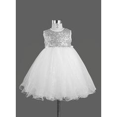 Forme Princesse Longueur genou Robes à Fleurs pour Filles - Satiné Sans manches Col rond avec Paillettes/À ruban(s)