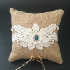 Hermoso Cojín en Encaje/Lino con Diamantes de imitación/Flores