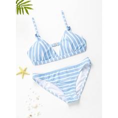 In de mode Stripe Driehoek Polyester Spandex Kleur De Bikinis Zwempak