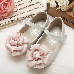 Flicka rund tå Stängt Toe Mary Jane Real Leather platt Heel Platta Skor / Fritidsskor Flower Girl Shoes med Blomma