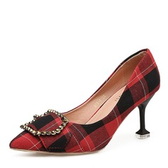 Women's Fabric Spool Heel Pumps Closed Toe With Buckle shoes