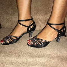 De mujer Satén Tacones Danza latina con Rhinestone Zapatos de danza