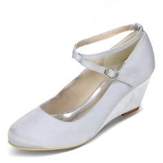 Vrouwen Satijn Wedge Heel Closed Toe Pumps Wedges met Gesp (047095134)