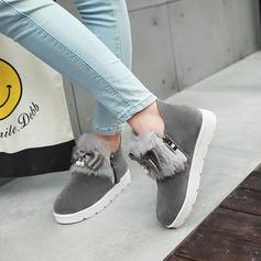 Mulheres Camurça Sem salto Sem salto Plataforma Bota no tornozelo com Pele sapatos