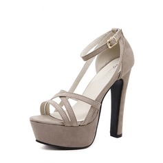 Kvinnor Mocka Stilettklack Sandaler Pumps Plattform Peep Toe med Spänne skor