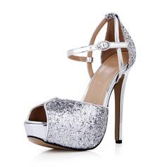Kvinnor Glittrande Glitter Stilettklack Peep Toe Plattform Pumps med Spänne