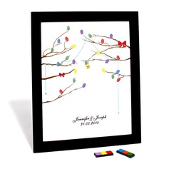 Personalized Bow And Star Canvas Fingerprint Painting