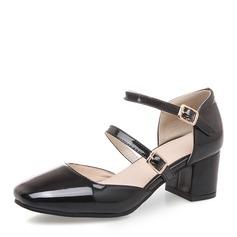 Vrouwen Kunstleer Chunky Heel Sandalen Pumps Closed Toe met Gesp schoenen